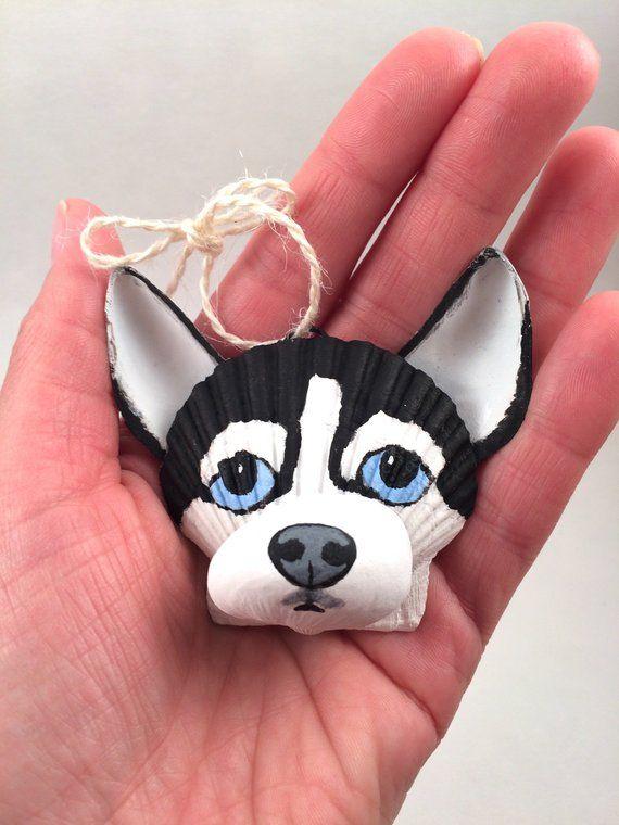 Seashell Black And White Husky Ornament Christmas Ornament Dog Ornament Coastal Cottage Beach And Dog Lover Dog Ornaments Seashell Crafts Shell Crafts Diy