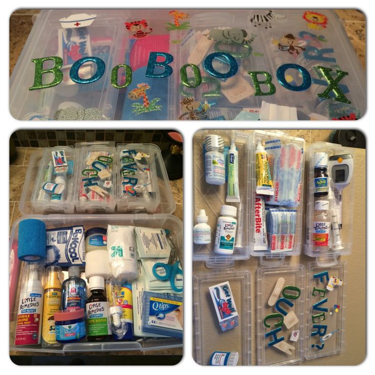 Boo boo box - baby, child first aid kit.  For fevers: rectal thermometer (petroleum jelly for lube), ibuprofen (for after 6 months), Tylenol, be cool fever pads.  For wounds: 2x2 and 4x4 gauze, roll gauze, stretchy gauze, medical tape, baby neosporin, neosporin wound cleanser, after bite cream, scissors, fun bandaids.  For tummy aches: gripe water, gas relief drops. For colds: saline spray, nose Frida aspirator, hylands ear drops, baby Vicks rub.  For teething: tablets and gel.   Other…