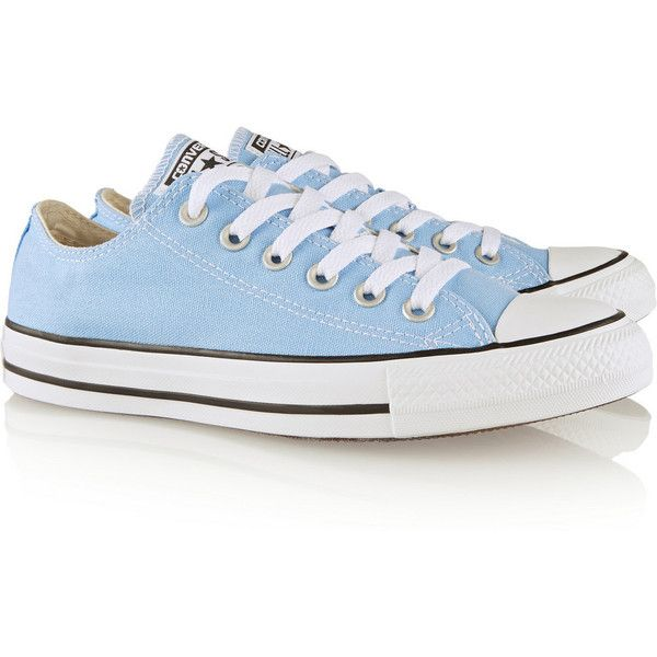 Converse Chuck Taylor All Star canvas sneakers ($55) ❤ liked on Polyvore featuring shoes, sneakers, blue shoes, converse shoes, light blue shoes, lace up sneakers and plimsoll sneaker