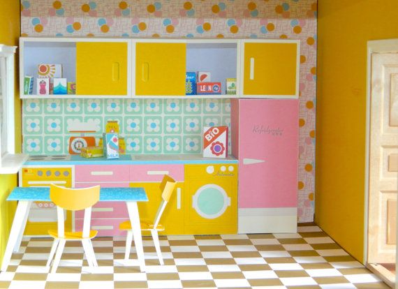Vintage Dollhouse Kitchen Paper Toy PDF  Print and by aliceapple