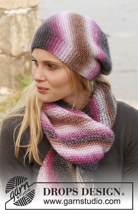 "Set consists of: Knitted DROPS hat and scarf in garter st in ""Big Delight"". ~ DROPS Design"