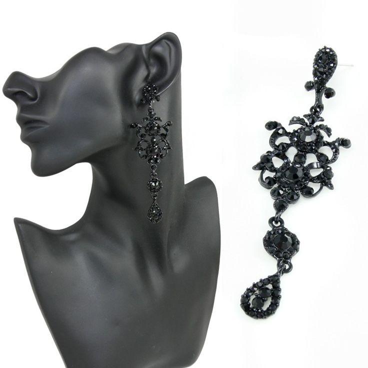 Punk-Gothic-Crystal-pendientes-largos-negros-con-piedras-pendientes-de-gota-de-p