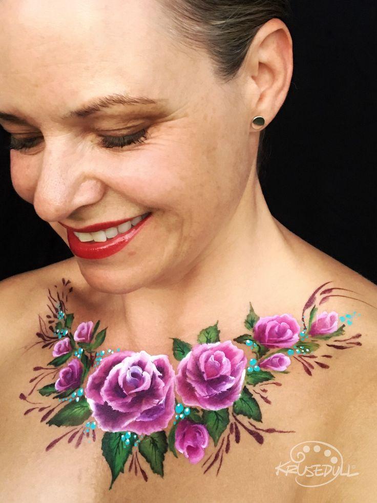 Rose décolletage face paint by Kristin Olsson