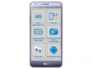 "Smartphone LG Xcam 16GB Titânio Dual Chip 4G - Câm. 13MP + Selfie 8MP Flash Tela 5,2"" Octa Core"
