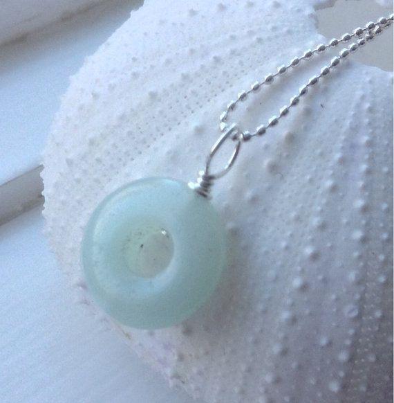 Light Blue Amazonite  gemstone necklace Donut by MingJewelsChic