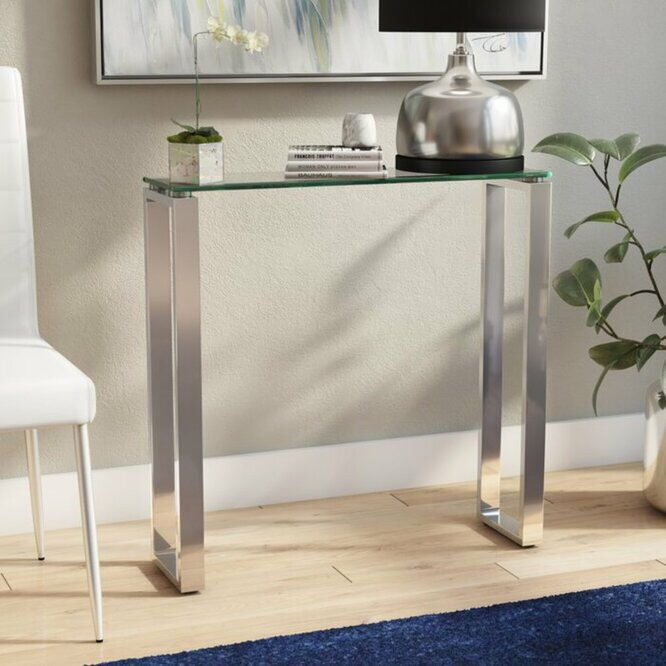 Jaynes Console Table Glass Console Table Narrow Console Table Console Table Narrow glass console table