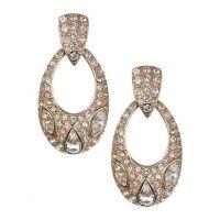 Mmcrystal Bronze Tone Statement Earrings-BRONZE-1