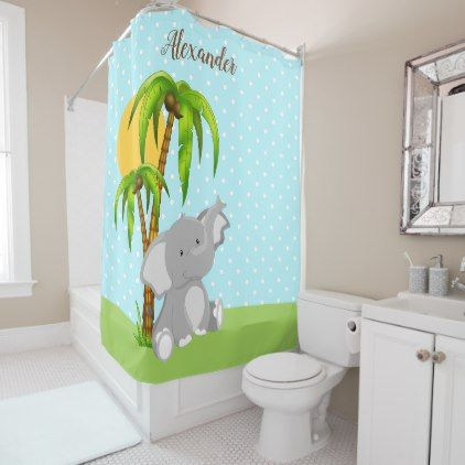 Cute Baby Elephant Polka Dots Shower Curtain - baby gifts child new born gift idea diy cyo special unique design