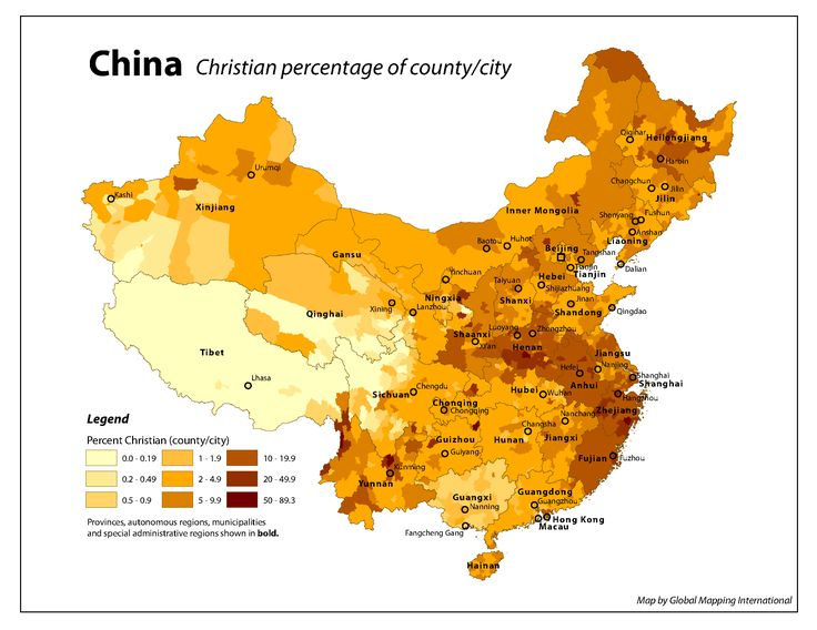 Map of Christianity in China, growing fast from 28 million Christians in 2009 to 106 million by 2030
