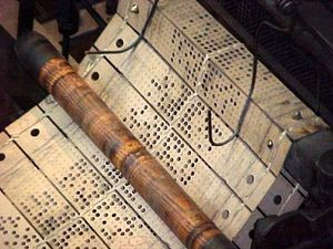 Punched cards for jacquard looms - makes me think of @Mary Powers Robinette Kowal's Glamourist Histories