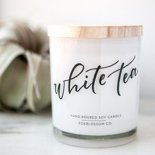 White Tea Natural Soy Candle 13 Oz Hand Poured Wooden Lids Us Grown... (29 CAD) ❤ liked on Polyvore featuring home, home decor, candles & candleholders, candles, candles & holders, container candles, home & living, home décor, silver and scented candles