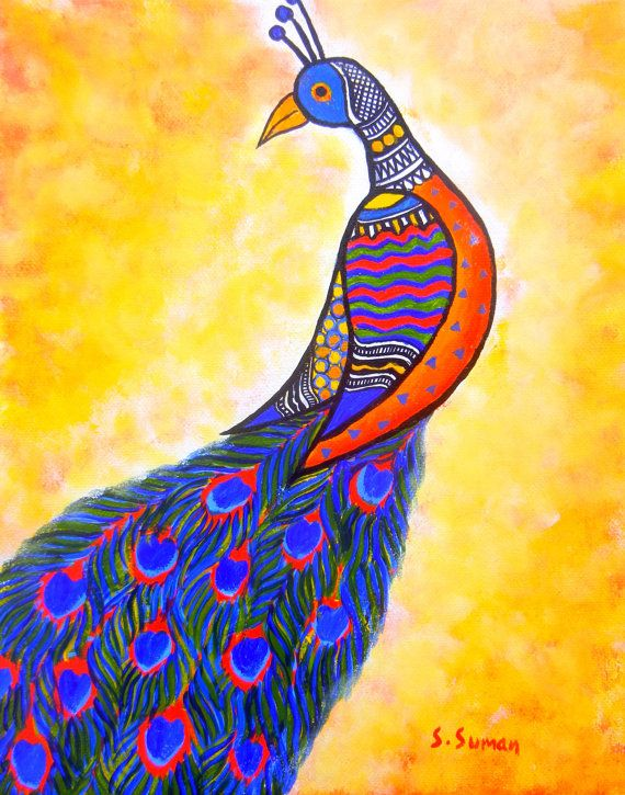 Peacock art print peacock acrylic  painting art by MadhubaniMotifs, $22.00
