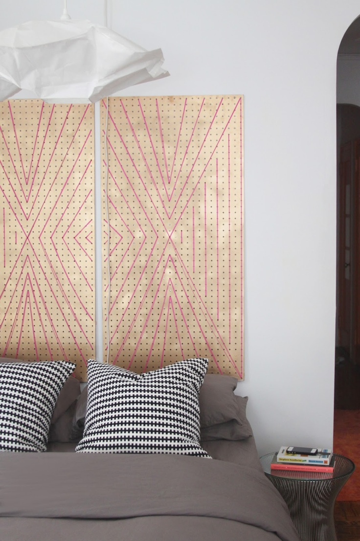 cool wall art/ headboard sub using pegboard and string?  DESIGN my heart out: welcome to my home: before and after on a budget