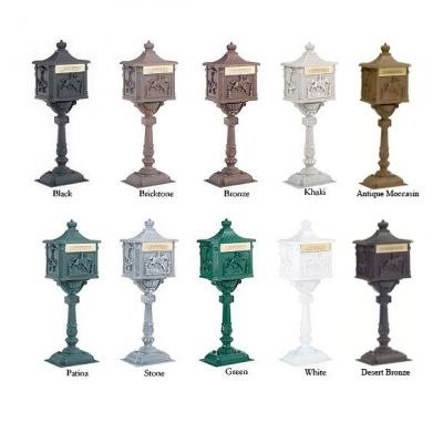 Amco Victorian Pedestal Locking Mailboxes -- all the available colors.  This is a locking mailbox.  #vintage #victorian #mailbox