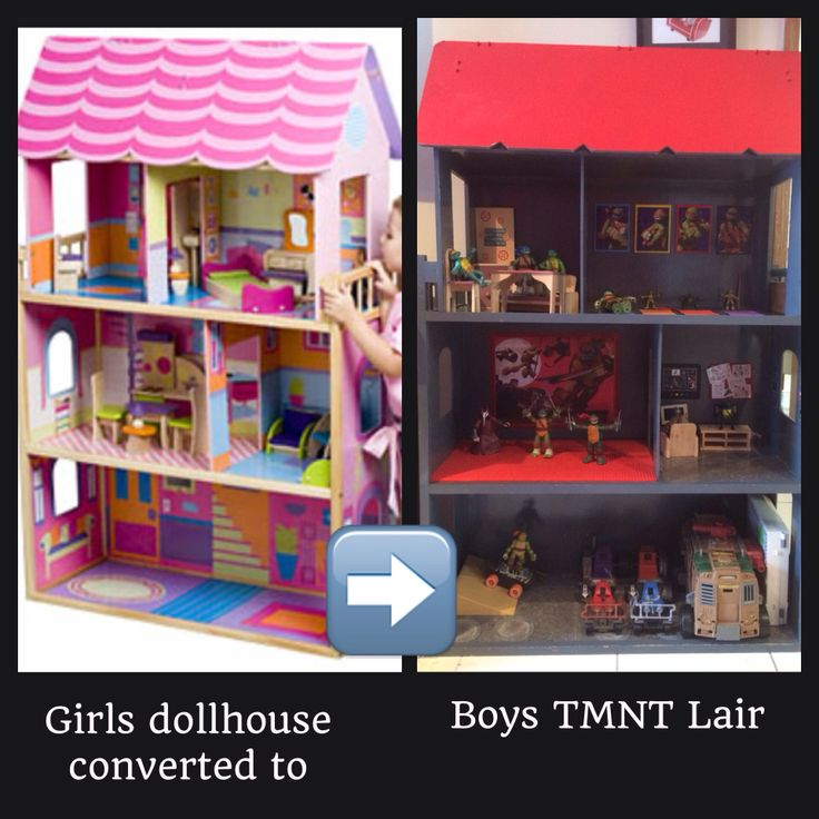 Great Storage idea for TMNT lovers & collectors.  I bought a 2nd hand girl's dollhouse & turned it into a Boys Teenage Mutant Ninja Turtle Lair for my son.  It's a lot more robust than the plastic models they sell in the shops & it has plenty of storage for the vehicles & other bits & pieces. (The roof/attic opens up & can store all his TMNT costumes & weapons) Just bought the Lino (concrete looking) squares for the floor, grey & red spray paint from the hardware store & decorated!