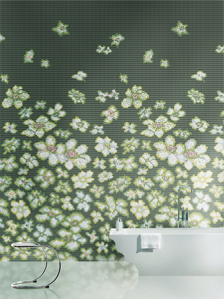 GORGEOUS white daisy tilescape for bath wall...White bathroom floor, free standing bath. Flowery wall (like this in any room).
