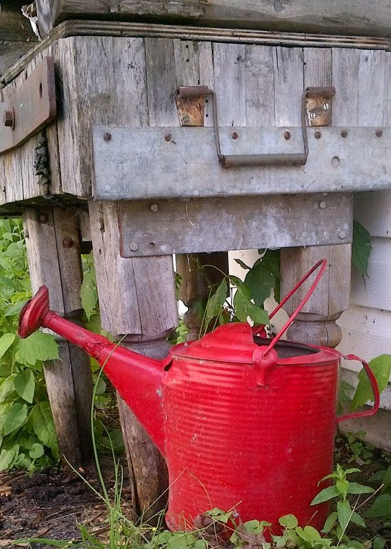 Large Vintage Red Galvanized Metal Watering Can
