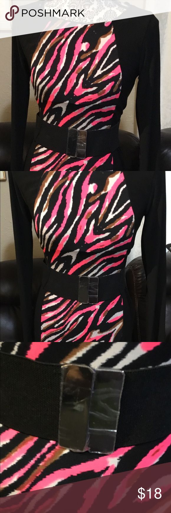 """New B. Smart fun bodycon dress. Stretchy sz 4 New B. Smart fun bodycon dress. Stretchy sz 4.  All over stretch, back zip closure.  Neon animal print with black sides.  Stretch wide belt still has plastic on clip.  New never worn no tags.  Armpit-armpit:  17"""".  Sleeve:  24"""". Overall length:  36"""". B. Smart Dresses"""