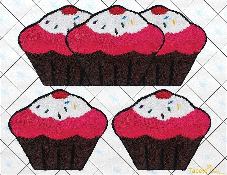 Jogo de cozinha cupcakes frufru tapete shop elo7