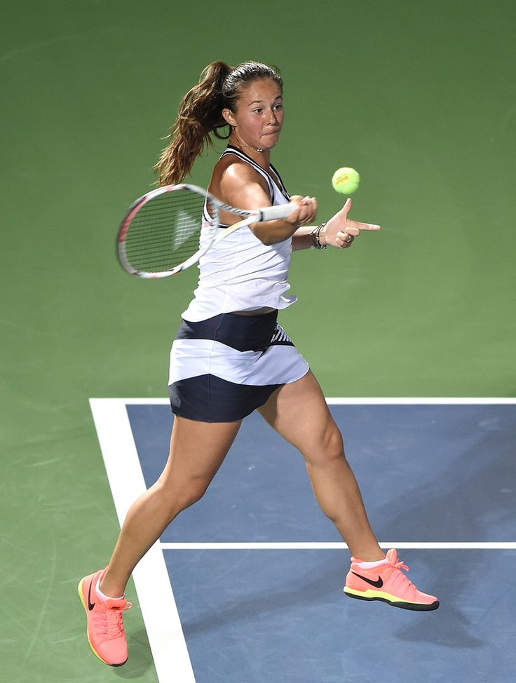 Daria Kasatkina Photos Photos - Daria Kasatkina of Russia plays forehand during her match against Caroline Wozniacki of Denmark on day two of the WTA Dubai Duty Free Tennis Championship at the Dubai Tennis Stadium on February 20, 2017 in Dubai, United Arab Emirates. - WTA Dubai Duty Free Tennis  Championship - Day Two