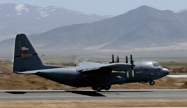 Bagram, Afghanistan -- A C-130 Hercules takes off out of the Bagram Airfield flightline in support of Operation Enduring Freedom, March 27. The C-130 North Carolina Air National Guard crew is providing critical supplies to replenish U.S. ground forces in Afghanistan.