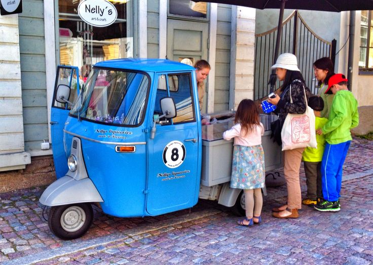 They sell candies from this old three wheel vechicle in Porvoo