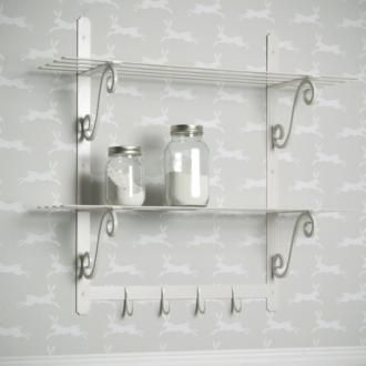 For effective #storage in a small kitchen, use our hand-forged steel Hitcham #Shelves in our attractive #clay paint finish; the beautiful detailing and #versatile colour will complement any #chic #country #kitchen.