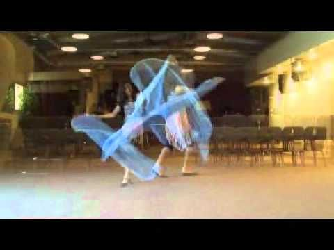 Praise Worship Dance with quill flags and silk veil billow
