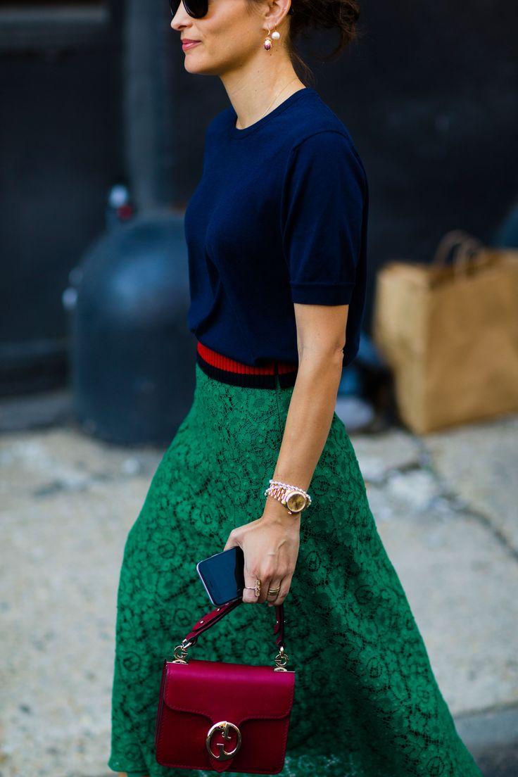 Jewel tones! Navy top + emerald green skirt!