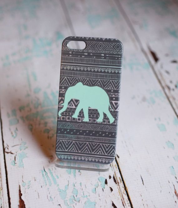 Mint Elephant Tribal Phone Case by SunkissedLaughter on Etsy. If I had a phone I would totally want this! lol