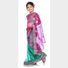 Rama Green and Rani Ready made Kids Saree