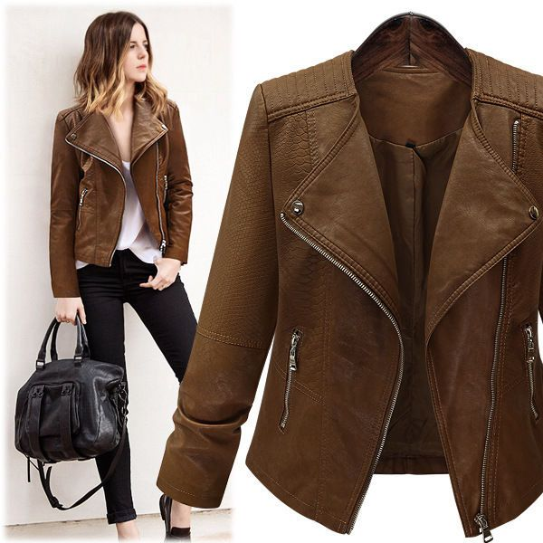 Plus Size Womens Faux Leather Coat Short Style Motorcycle Lapel Slim Fit Jackets