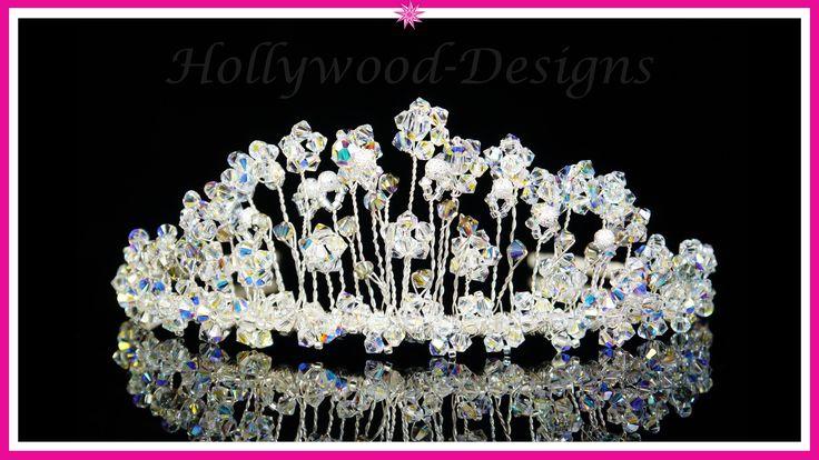 Handmade Bridal Wedding Tiara Made With Swarovski Crystal Element - Crys...