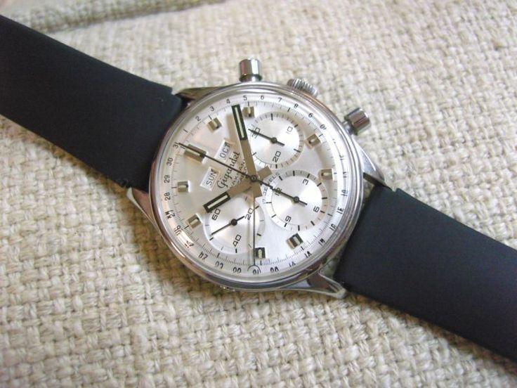 Wakmann Gigandet Breitling Vintage Steel Chronograph Watch Valjoux 72C movt
