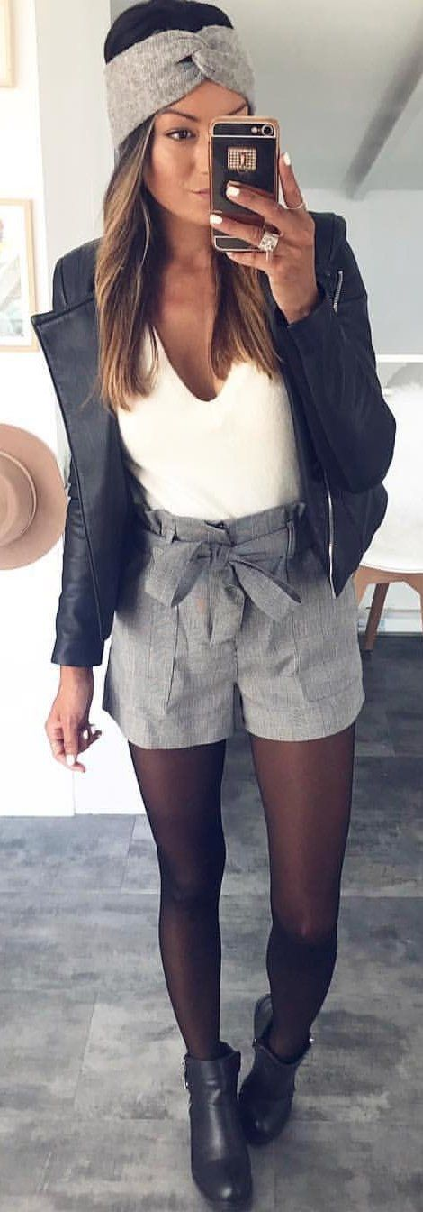 #winter #outfits white tank top with grey shorts
