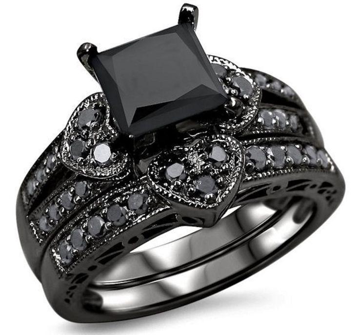 Engagement ring 2.50ct black Diamond princess silver wedding valentine gift ov in Jewelry & Watches | eBay