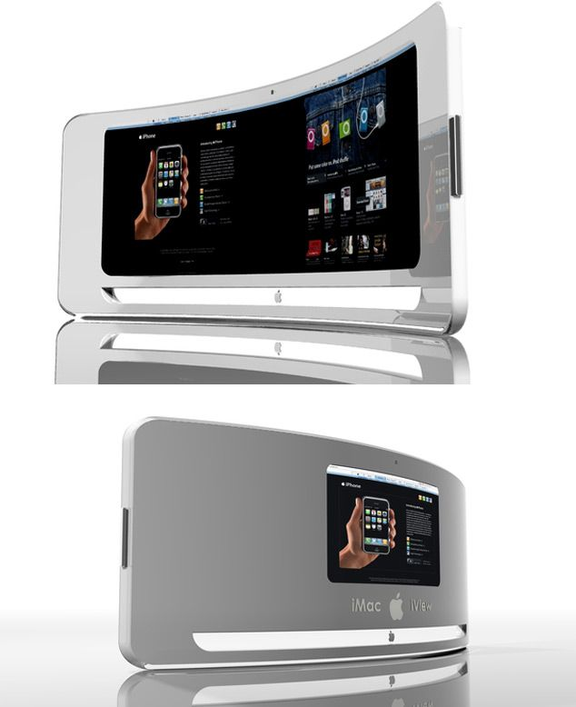 "introducing the ""Apple iView"": cool silver futuristic desktop computer 