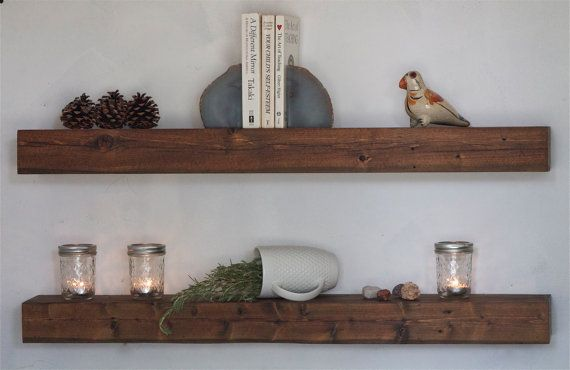 Floating Shelf Set Reclaimed Wood - Modern Book Shelf Dark Finish - Rustic Modern Home - 37 Inches - Reclaimed Wood