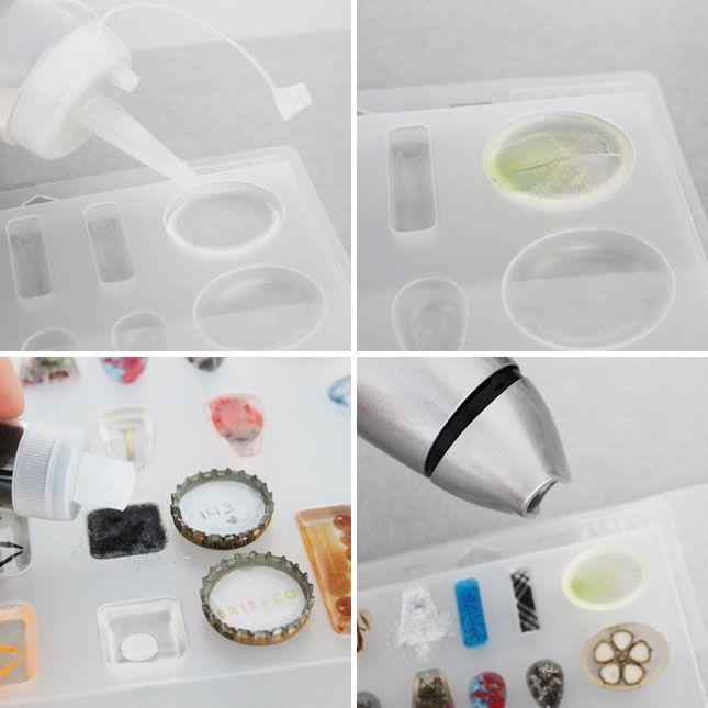 Mais uma dica para quem quer trabalhar com bijus de resina: para obter cores legais no meio das bijus de resina, há a possibilidade de se usar objetos...