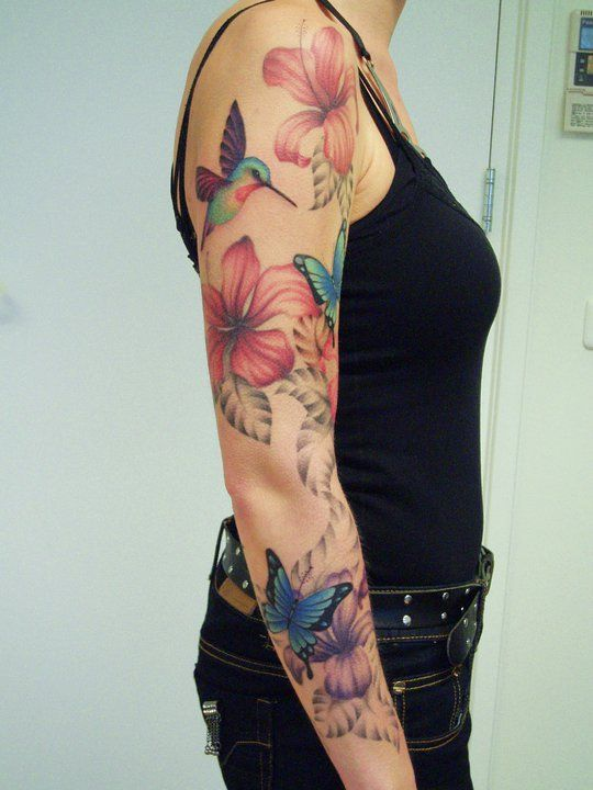 hibiscus flower sleeve tattoo