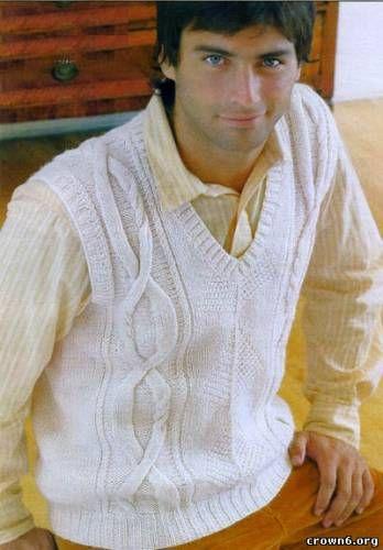 Model: Pulover tricotate pentru bărbați vesta +, cu descrierea (a revistei) - rețea tricot - CREATIVE MAINI - Publisher - vergele