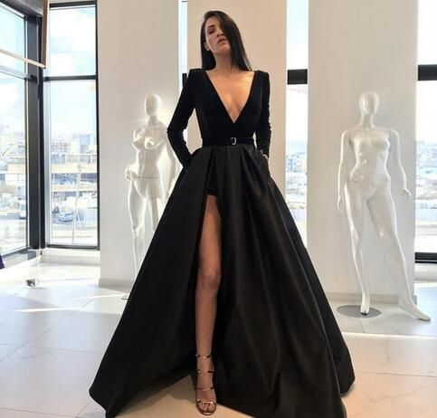 Back Evening Gowns A Line Long Sleeve Plunging V Neck High Side Split Floor Length Prom Party Gowns Satin Formal Pageant Dresses