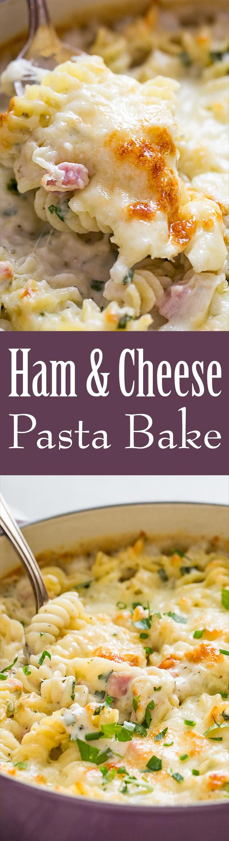 Creamy, cheesy Ham and Cheese Pasta Bake with Parmesan, Mozzarella, and ham. Perfect dinner for a hungry crowd!