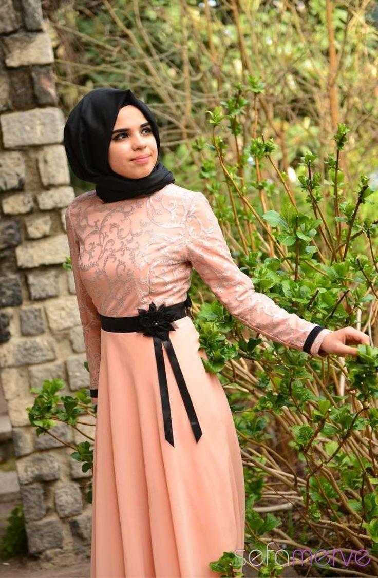 2014 Yazlık ZRF Tesettür Elbise 9021-04 Pudra