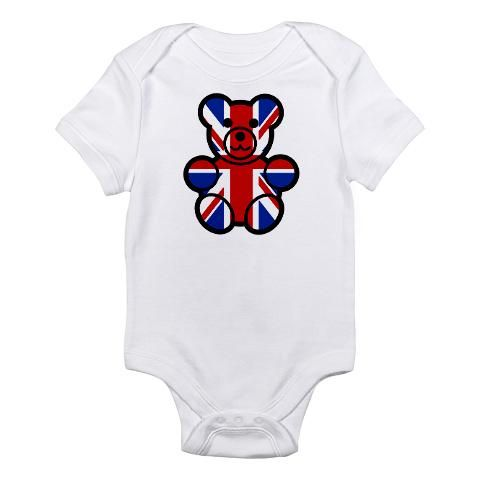 'Brit Bear' Infant Bodysuit    http://www.cafepress.com/britshop.664637224    Babies love creepin', crawlin' and sleepin' in our super comfy, 100% cotton jersey knit Infant Creeper. Infant clothes shouldn't be hard to change, so our three-snap bottom helps ease those nasty diaper changes. Great baby stuff for your special little one.    - 5.5 oz. 100% cotton  - Three bottom snaps  - Standard T-shirt neck $19.99