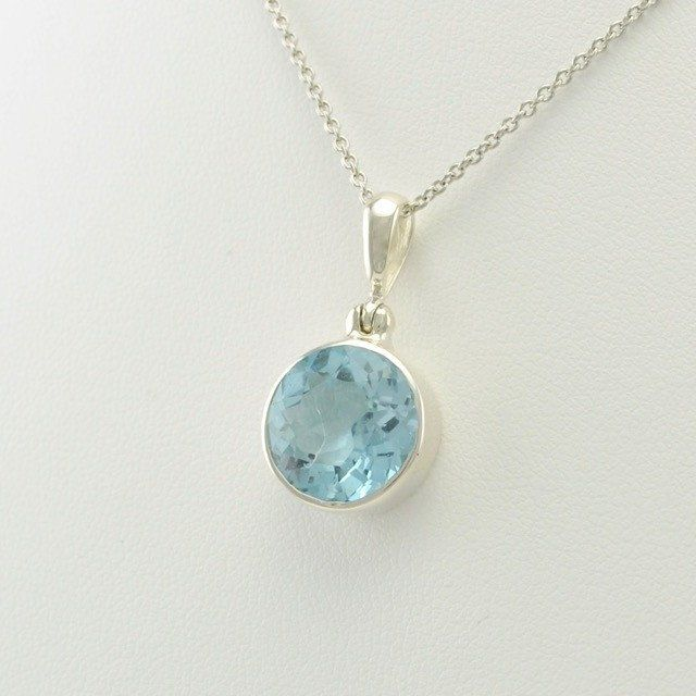 Sterling Silver Blue Topaz Round Pendant