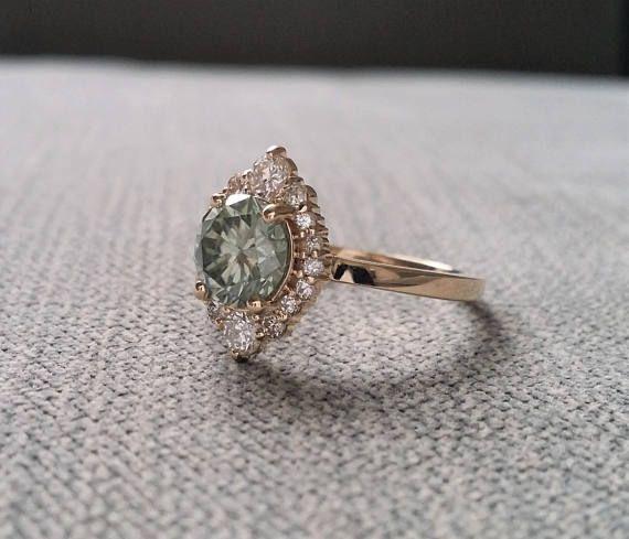Grey Mint Moissanite Diamond Engagement Ring Halo Bohemian Art Vintage Engagement Rings Sapphire Vintage Engagement Rings Diamond Engagement Rings