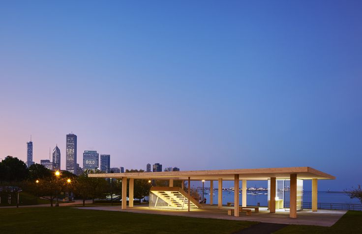 A lakeside Kiosk & viewing platform, features 2-way slab roof, the first of its kind. Chicago Horizon, Chicago