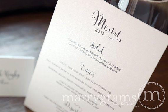 Elegant Wedding Menus  Simple Calligraphy Style by marrygrams, $100.00