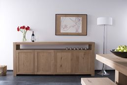 Oak Flat 5 Door Sideboard,  Dining Room Furniture from Blacks of Sopwell, St. Albans, Hertfordshire